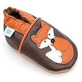 Dotty Fish Chaussures Cuir Souple bébé. Chaussures de Poussette pour Les Filles et Les garçons. Conception de Renard Marron et Orange. 0-6 Mois