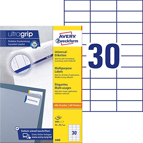AVERY Zweckform 3489 Universal Etiketten (3.000 Klebeetiketten, 70x29,7mm auf A4, Papier matt, individuell bedruckbar, selbstklebende Aufkleber mit ultragrip) 100 Blatt, weiß