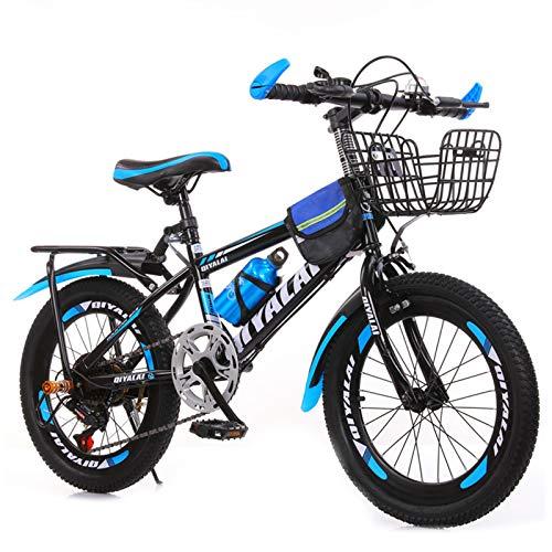 GZMUK Bicicleta De Montaña para Niños, Niñas, Hombres Y Mujeres, 7 Velocidades,Asiento Regulable,Viene con Bolsa, Botella De Agua, Canasta,Azul,24 in