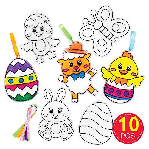 Acchiappa-sole di Pasqua Baker Ross (confezione da 10)- Modelli di plastica divertenti per i bambini da colorare e decorare