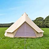 Outdoor Cotton Canvas Outdoor Camping Bell Tents for 4 Seasons (Beige, 6 Meters in Diameter)