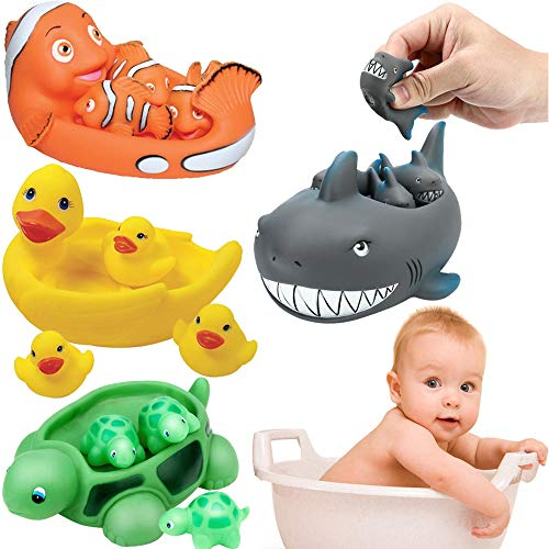 liberty imports baby bath toys Liberty Imports Ocean Animals Rubber Cute Family Bathtub Pals Floating Duck Shark Clownfish Turtle Bath Toys Value Pack (Set of 4)