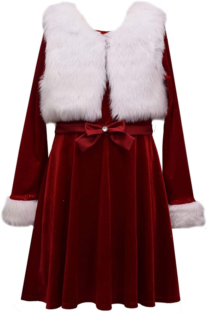 Bonnie Jean Girls Holiday Santa Dress with Vest