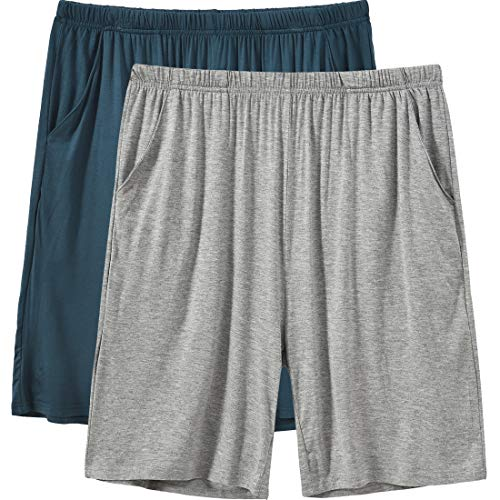 MoFiz Pyjamahose Herren Schlafanzughose Kurz Modal Schlafshorts Weit Loungewear Einfarbig 2 Pack Spezialblau/Hellgrau DE 60/62 US 2XL