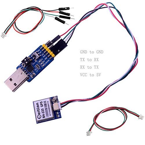 Beitian BN-220 GPS Módulo con Flash + Antena pasiva GPS + USB CP2102 a TTL para Control de Vuelo Arduino Raspberry Pi DIYmalls