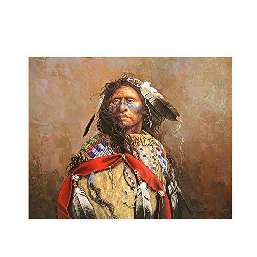 Olieverfschilderij van de Indische ingeborenen portretfoto op canvas en kunstwand-woonkamerafbeelding
