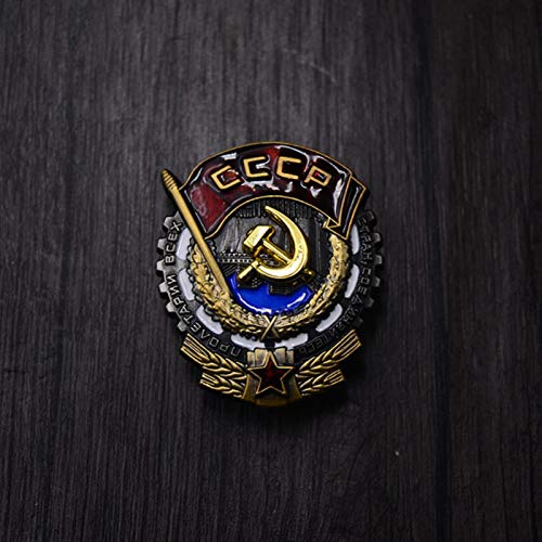 ZHAQU CCCP WWII USSR Labor Red Flag Metal Medal Soviet WW2 Russia Red Flag Five-Star Hero Glory With Ribbon Pin Honour Military Badge