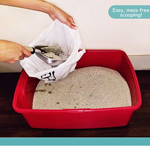 Cat Litter Waste Poop Bags - X-Large, Compostable, Plastic-free, Thick, Leak Proof, Pet / Dog Poo Bags with Easy-Tie Handles,10.5 x 18.5 inch, EcoLeo (40-Count)