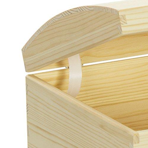 VENKON – Holztruhe mit gewölbtem Deckel aus Massivholz mit Metallverschluss – Kiefer naturbelassen unbehandelt, 35x25x19cm - 4