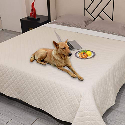 Snagle Paw Waterproof Dog Couch Cover,Washable Puppy Pad,ReusableDog Bed Cover with Non-Slip Back,Pet Furniture Bed and Sofa Cover,Water-Resistant Pee Pads for Dogs (82'x82', Beige)