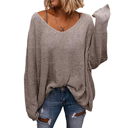 Delou Women's V Neck Long Sleeve Knit Batwing Sleeve Loose Oversized Pullover Sweater (Apricot,Large)