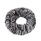 Bohemian Style Three Tone Winter Knit Warm Infinity Circle Scarf, Black