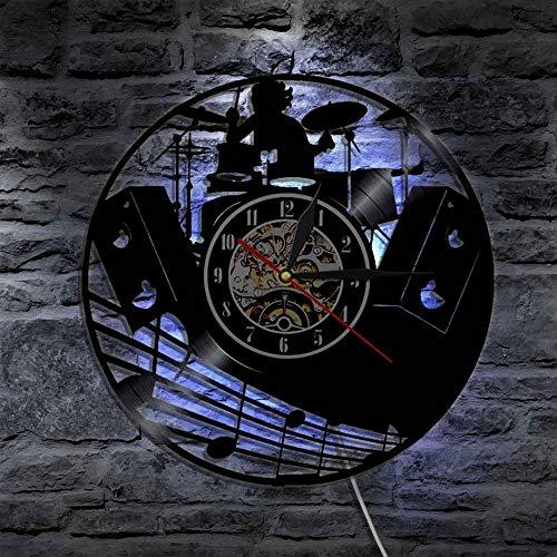 XDG Schlagzeug Kit Schallplatte Wanduhr Musik Band Schlagzeug Musikinstrumente Rock Schlagzeuger Wanduhr Einzigartiges Geschenk für Rockmusikliebhaber(Größe: 12 Zoll mit LED)