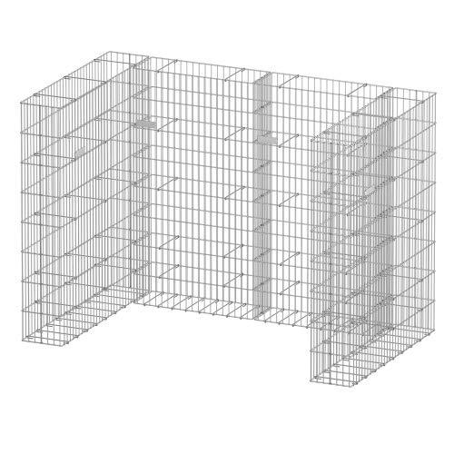 bellissa Gabionen-Mülltonnenverkleidung für 2 Tonnen - 98283 - Mülltonnenbox U-förmig - 4-teiliger, erweiterbarer Bausatz - 177 x 101,5 x 120 cm