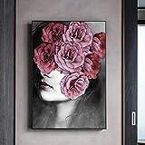 ganlanshu Pintura sin Marco Resumen Flor Dama Imagen Arte de la Pared decoración Lienzo Pintura nórdica decoración del hogar póster ZGQ3186 40X60 cm