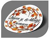 CrisPhy Pegatinas Personalizadas Boda con Nombre y Fecha, Etiquetas Adhesivas para Invitacion Boda, Bautizo, Compromiso, Comunion, Cumpleaños, Fiesta, Vintage, Sellos (Modelo 5)