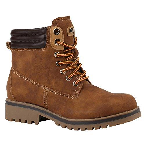 Damen Schuhe Warm Gefütterte Outdoor Stiefeletten Worker Boots 144382 Hellbraun Bexhill 38 Flandell