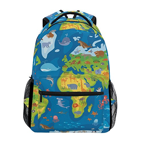 Mochila escolar Ahomy para adolescentes y niñas y niños, con mapas del mundo de animales, mochila de viaje, bolsa de senderismo para mujeres y hombres