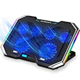 """SOUNDANCE Laptop Cooling Pad with 6 Quiet Fans, Laptop Cooler Adjustable Height Prevent Overheating, with RGB Lights, Dual USB Ports, Metal Panel, Suit for All Gaming Laptop Up to 17.3"""", Black"""