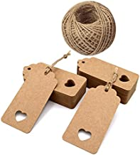 jijAcraft 100 Pcs Tags,Gift Tags,Paper Tags,Wedding Tags,Brown Tags Hollow Heart with Free 100 Feet Jute Twine(9.5cm x 4.5cm)