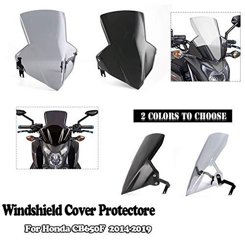 Moto Pare-Brise En Plastique Pare-Vent Écran Protecteur Couverture De Protection Avec Support De Montage pour 2014-2019 Hon-da CB650F 2015 2016 2017 2018(Fumée)