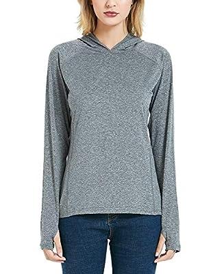 Safort Women's UPF 50+ Sun Protection Hoodie Long Sleeve T-Shirt for Running, Fishing, Hiking, Grey L