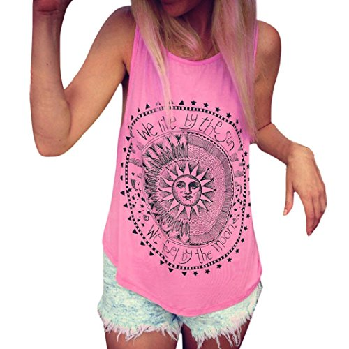 Kolylong® Hemd Damen Frau Gedruckt Weste Tank Tops (L, Pink)