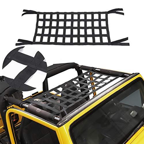 Mesh Cargo Net, Auto Roof Net Hammock for Jeep Wrangler YJ TJ JK JKU JL JLU JT 1987-2021