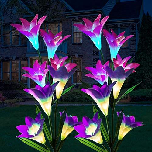Luces Solares LED Exterior Jardin ILYLFY Plantas Artificiales Decorativas Jardineras Exterior Terraza Decoracion Jardin Exterior Flores Artificiales Decoracion Luz Solar Jardin Luces LED de Colores