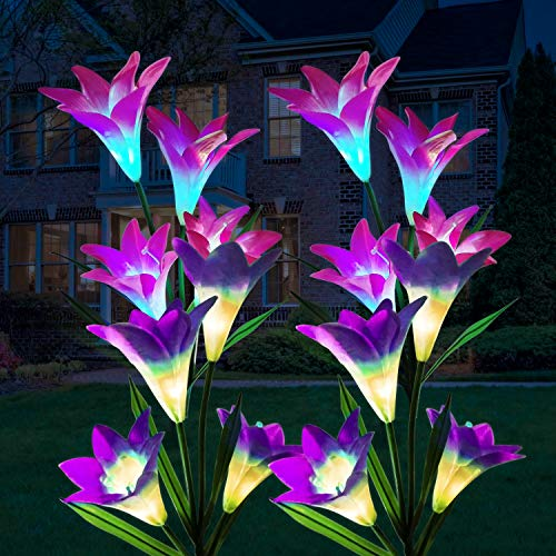 Solar Lights Outdoor Garden, ILYLFY Garden Ornaments Outdoor Colour Changing Solar Lights Suitable for Christmas Halloween Decorations Solar Fairy Lights 4 Pieces Red and Purple