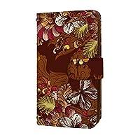 anve iPhone12mini iPhone 12 mini 国内生産 ミラー スマホケース 手帳型 Apple アップル アイフォン トゥエルブ ミニ 【A.ブラウン】 レトロ 蝶々 花柄 best_vc-273