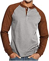 Esobo Men's Casual Beefy Slim Fit T-Shirts Henley Long Sleeve Spring Summer Clothes Brown