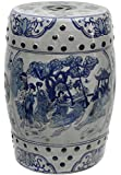 Oriental Furniture 18' Ladies Blue & White Porcelain Garden Stool