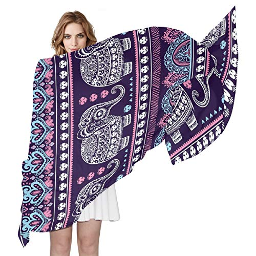QMIN Seidenschal, indischer Ethnischer Elefant Tier, modisch, lang, leicht, Schal, Tidy Wrap Schal, Muffler für Frauen Mädchen Damen