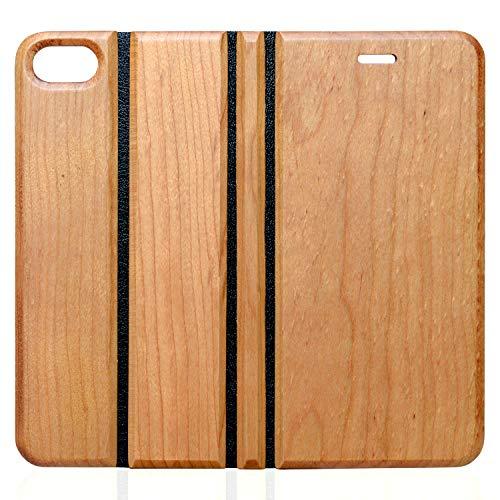 wooday tokyo iPhoneSE(第2世代) / 8 / 7 木製 ウッド 手帳型 ケース 財布型 サイドマグネット式 カード収納 スタンド機能 全面保護 人気 おしゃれ プレゼント ギフト (SE(第2世代) / 8 / 7, チェリーウッド)