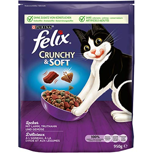 FELIX Crunchy & Soft Katzenfutter trocken, mit Lamm und Truthahn, 4er Pack (4 x 950g)