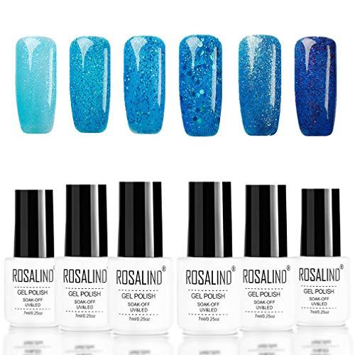 ROSALIND empapa del gel conjunto de esmalte de uñas UV LED barniz semipermanente para manicura efecto diamante azul brillo 6pcs 7ml…