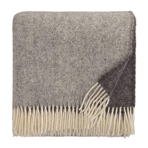 URBANARA 140x220 cm Wolldecke 'Salakas' Braun/Grau — 100% Reine skandinavische Wolle — Ideal als Überwurf, Plaid oder Kuscheldecke für Sofa und Bett — Warme Decke aus Schurwolle mit Fransen