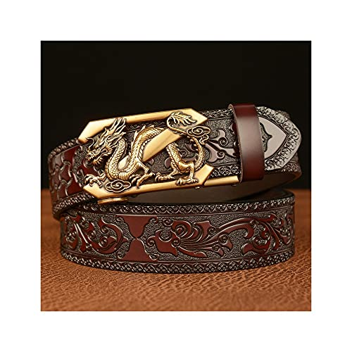 GHRFZC Estilo Étnico Dragón Retro Libélula Automática Hombres Cinturón Moda Tallado Artesanía Casual Cinturón Jeans Personalidad Cintura, Cinturón Marrón Hebilla De Oro,110cm