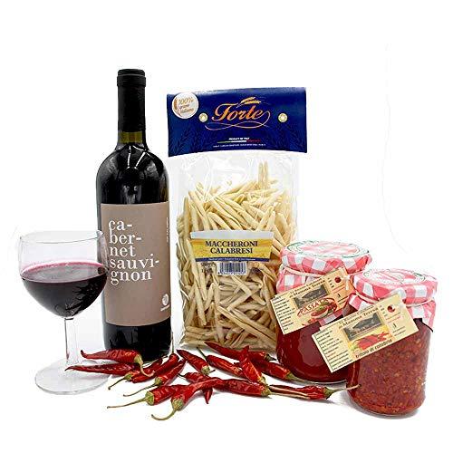 Box Prodotti Alimentari Tipici Calabresi con Peperoncino Tritolo Pasta Passata di Pomodoro e Vino da 4 Pezzi