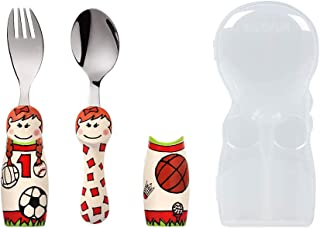 Eat4Fun Sports Girl Fork & Spoon w/Carry Case | Silverware Utensil Set for Children & Toddlers