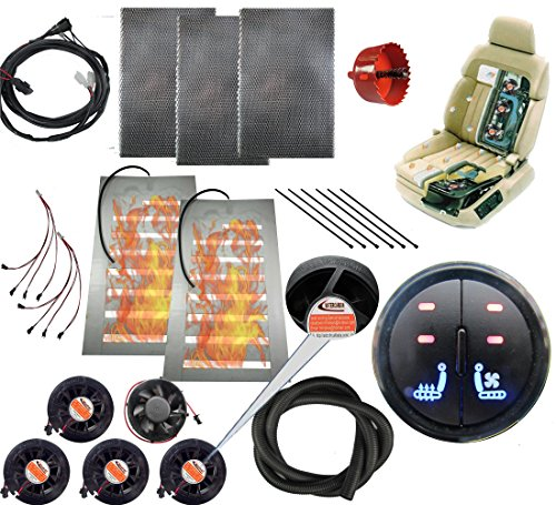 Tech Era 12v car Heated and Cooled seat pad Kits System Left/Heated Right/Cooling 2 Button Round Switch Heater pad car Ventilated seat Cooler 5 Fans 1 seat-Blow Wind Style