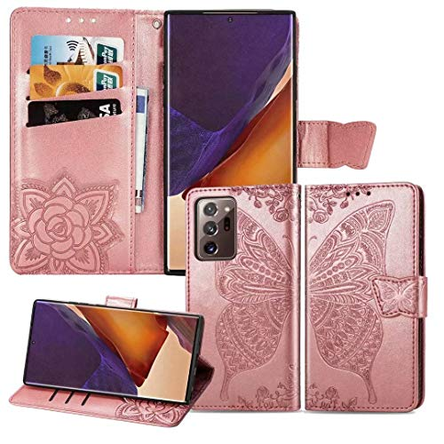 Ropigo for Samsung Galaxy Note 20 Ultra Wallet Case | Embossed Butterfly | Magnetic Closure | Kickstand | Wrist Strap | Card Slots | Premium Leather | Compatible with Galaxy Note 20 Ultra Rose Gold