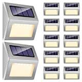 Solar Step Lights, iThird 6 LED Solar Powered Stair Lights Outdoor 12 Pack Warm White Stainless Steel Decoration for Deck Fence Path Auto ON/Off Weatherproof