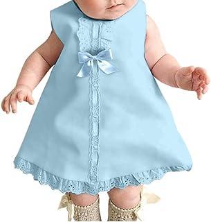 Bebe Fille Confort D'été Robe Deux Pièces, Nouveau-né Fille sans Manches Dentelle Maxi Noeud Décontracté Robe + Bandeau En...