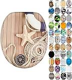Sanilo WC-Sitz mit Absenkautomatik I Hochwertiger Toilettensitz aus Holz I Toilettendeckel in verschiedenen Motiven (Maritim)
