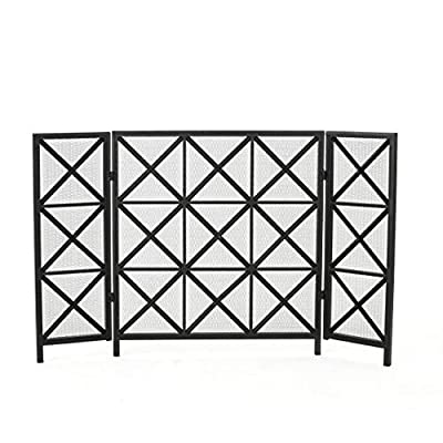 Christopher Knight Home Margaret 3 Panelled Iron Fireplace Screen, Black from GDF Studio