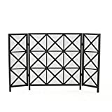 Product Image of the Christopher Knight Home Margaret 3 Panelled Iron Fireplace Screen, Black