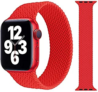 braided Silicone solo loop replacement band for apple watch (38mm/40mm - small, Red )