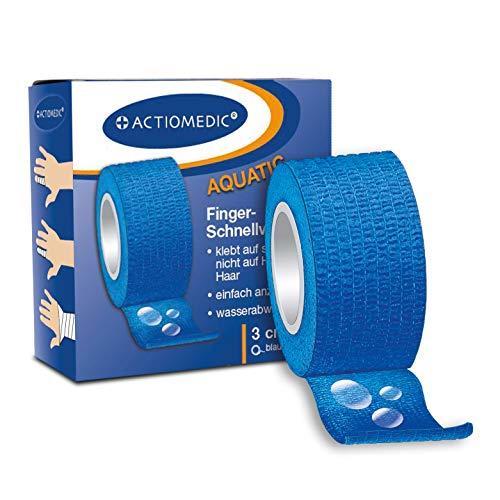 ACTIOMEDIC wasserabweisender, elastischer Schnellverband, selbstklebend I Abreißbare blaue Bandage I Hypoallergenes, medizinisches Klebeband ideal für Freizeit und Beruf, 3cm x 7m